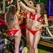 Sexy Girls in red bikini from Moulin Rouge cabaret on custom big bike. Phuket Bike Week, Thailand         XOKA1895bs