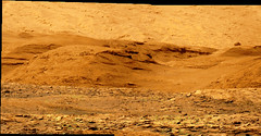 Base of Mount Sharp, variant (sjrankin) Tags: 17august2019 edited colorized bayerdecoded nasa mars msl curiosity galecrater mountain mountsharp base rugged hills panorama processed output app