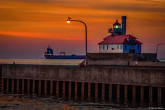Duluth Dawning (WOODSHED Revisited) Tags: duluth minnesota minn mn harbor lake superior ship canal light house lighthouse south breakwater pier shipping victoriaborg vessel great lakes wheat riverland ag ricoh pentax ks2 dslr camera tamron 18200 zoom lens marthadecker onlyinmn upnorth justpentax
