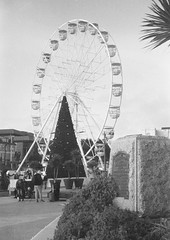 Christmas Cones of Bournemouth 2018 (Attila Pasek (Albums!)) Tags: hp4 christmas analogue decoration expired triangle bournemouth street ilford rangefinder bw blackandwhite camera 35mm film argusc3