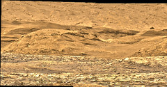 Base of Mount Sharp, variant (sjrankin) Tags: panorama mars mountain edited nasa hills colorized curiosity output processed base app rugged msl galecrater mountsharp bayerdecoded 17august2019