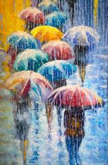 rain on a rainbow of umbrellas (Pejasar) Tags: art artistic painterly digitalcreations water rainbowofumbrellas rain people street color estespark colorado