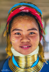 Long Neck Kayan Woman - Ben Heine Photography (Ben Heine) Tags: mother portrait clothing jewel asia cute ywama coils young animism hill ring longneckwoman female hat discovery kayan woman clothes chiang karen village thailand asian tradition beauty legend padaung teen old happiness women tribe neck traditional people myanmar minority culture pride colorful buddhism religion smile travel ethnic tourism necklace burma pretty work traditionalclothes proud goldenrings