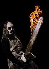 Heavy metal😆 (jensholmeros) Tags: model sweden evil motorsåg eld skräck dark studio fantasy horror scary fear metal fire saw chainsaw hair mask