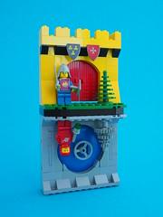 1979 (David Roberts 01341) Tags: nostalgia lego minfigure knight redspaceman space yellowcastle toy