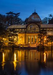 Palacio de Cristal at night (Oleg S .) Tags: pond night spain water architecture madrid pavilion park dusk