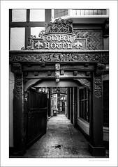The Old Bell Hotel, Derby (G. Postlethwaite esq.) Tags: bw derby derbyshire sadlergate sonya7mkii blackandwhite entrance gate mirrorless monochrome sign unlimitedphotos