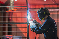 Welder (Blue Rock Fox) Tags: man men workingman worker employee engineering welding workshop metalwork skill craft factory manufacturing workplace work employment sparks light davidmichaelbellis davebellis davidbellis bluerockfox