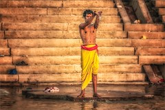 Morning rituals at the Ganges river #6 (felixvancakenberghe) Tags: asia asian hinduism india man people religion varanasi water