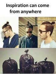 Inspiration Can Come From Anywhere (gagbee18) Tags: aww boys fashion funny hair inspiration jokes wtf