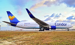 Condor up close! (LeoMuse747) Tags: boeing 767300er 767330er condor flugdienst dabud fortaleza pinto martins international intl airport for sbfz planespotting planespotter fraport dslr nikon nikkor d5100 1855mm vr camera lens frankfurt aircraft airplane widebody airliner germany