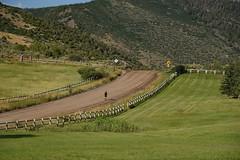 lone runner (remiklitsch) Tags: aspen snowmass nikon remiklitsch mountain panoramic panorama nature road fence evening runner green