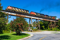 Cowls Flying High (Kyle Yunker) Tags: cn canadian national c408m cowl locomotive csx bridge trestle train ge general electric