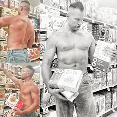 Cereal shopping (ddman_70) Tags: shirtless pecs abs muscle jeans grocerystore shopping