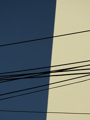 gettingcoldsandmissingtrains (renedepaula) Tags: blue sky wire diagonal façade building urban city sampa saopaulo brazil brasil