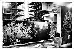 Street art against urban development (leo.roos) Tags: straatkunst streetart mural muurschildering wallart muralism kijkduin winkelcentrum shoppingmall shoppingcentre sloop demolition graffiti thsa thehaguestreetart noiretblanc verval stad vervalstad muurwerk hage steiger bouwplaats sk 40 a7 schneiderkreuznach robot m26 xenon schneiderkreuznachxenon4019 1943 darosa leoroos streetartcity winkelpromenadekijkduin
