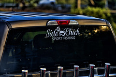 Side Chick (raymondclarkeimages) Tags: usa flickr raymondclarkeimages google 8one8studios canon outdoor rci processed 6d fullframe 70200mm gear decal sportchick window graphics fishing sport rodcarrier sportfishing fishingrod focus bokeh