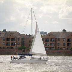 Sailing on the River Thames (godrick) Tags: england europe unitedkingdom greenwich riverthames london gb olympianway sailing yacht