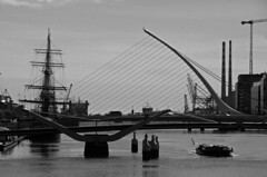 Spars and stays (shanahands2) Tags: jeaniejohnston samuelbeckett bridge dublin liffey spars cables sailingship river sky city cranes