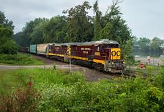 OC Duo Departing Zanesville (Wheelnrail) Tags: oc ohio central train trains ge b23s7 locomotive railroad rail road maroon yellow zanesville river summer cloudy loco