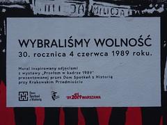 Wybraliśmy Wolność (stillunusual) Tags: warsaw warszawa wwa poland polska streetphotography street city urban urbanscenery urbanlandscape streetart urbanart urbanwalls wall wallart wallporn graffiti graffitiporn graffitiartist mural stencil pasteup poster pavementart art artwork publicart contemporaryart modernart wybraliśmywolność polskarzeczpospolitaludowa prl polishpeoplesrepublic communistpoland communism sovietunion ussr ironcurtain easternbloc sovietbloc centrum holiday vacation travel travelphotography travelphoto travelphotograph 2019