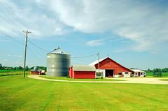 Convergence (stephen.michaels) Tags: summer grass clouds barn michigan farm farming gimp silo agriculture corncrib kodakgold200 canonef28135mmf3556isusm canoneos55 film