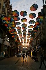 Paint rainbows all over your blues (Count Rushmore) Tags: countrushmore count rushmore samsung galaxy s8 france brive la gaillarde paintrainbowsalloveryourblues umbrellas parapluis paraplus evening