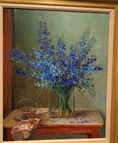 Brisbane. One of Margaraet Olley's still lifes of  blue larkspur  flowers. Part of the Margaret Olley a Generous Life exhibition at the Brisbane Gallery of Modern Art in 2019.