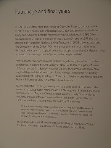 Brisbane. Information board about the Margaret Olley a Generous Life art exhibition in the Gallery of Modern Art. She was a great donater and funder of Australian art.