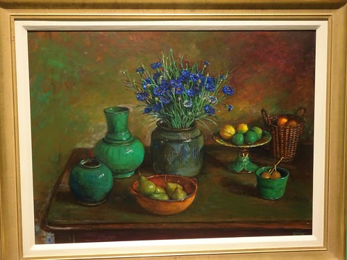 Brisbane. One of Margaraet Olley's still lifes of her favourite blue corn flowers. Part of the Margaret Olley a Generous Life exhibition at the Brisbane Gallery of Modern Art in 2019.