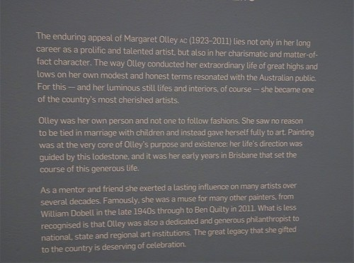 Brisbane. Information board about the Margaret Olley a Generous Life art exhibition in the Gallery of Modern Art.