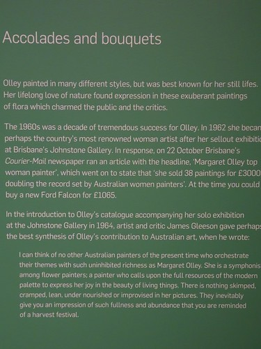 Brisbane. The story of artist Margaret Olleys major successful solo painting exhibition in Brisbane in 1964. From the Margaret Olley a Generous Life Exhibition in the Brisbane Gallery of Modern Art.