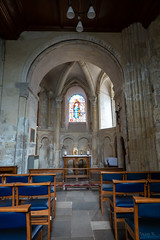 Rich Blue (Jocey K) Tags: interior altar triptoukanderoupe2019 june england uk architecture buildings christchurchpriory dorset church stainedglasswindows pews seats candles cross