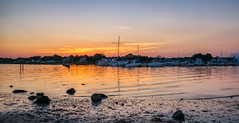 A Simple Summer Sunset (tquist24) Tags: clinton clintontownbeach connecticut hdr longislandsound nikon nikond5300 outdoor boat boats clouds evening geotagged harbor mud reflection reflections rock rocks sky sunset water