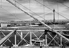 Manhattan Bridge, From The Brooklyn (sidewinder_7777) Tags: bridge nyc newyork city manhattan brooklyn river sailboat