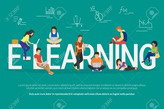 E-learning concept illustration (emblearningnetworking) Tags: mobile internet laptop smartphone illustration technology web vector education flat book learning knowledge online tutorial abstract idea app information science elearning concept university sign distance symbol design people school computer banner tablet media set ebook business object profession training network service teaching digital courses background social share professional study
