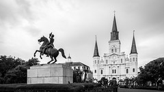 Jackson Square (Thomas James Caldwell) Tags: new orleans la louisiana french quarter church statue black white monochrome historic national landmark clark equestrian mills andrew micaela almonester baroness de pontalba saint louis cathedral sculpture