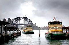 A bleak day in Sydney (Bernard Spragg) Tags: sydney australia ferry boat bridge sydneyharbourbridge sony arch harbour transport watertransport pier jetty port cityscape urban