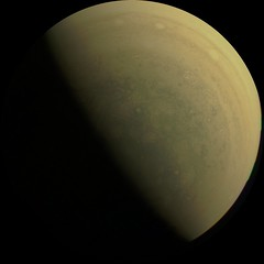 Jupiter From One of His Poles (sjrankin) Tags: 18august2019 edited nasa juno jupiter colorized gibbous terminator clouds storms whitespots jnce201920221c00048v01 pole processed rgb