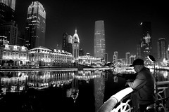 Night Fishing by Spotlight (kiwi photo lover) Tags: china tianjin hai river asia monotone black white night fishing recreation spotlight reflection water calm still bw blackandwhite