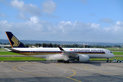 Having a smoke before departure (adelaidefire) Tags: adelaide airport south australia ypad singapore airlines 9vshc airbus a350