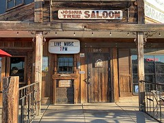 Staying in Joshua Tree village overnight, we had dinner here. In this spectacularly old timey looking Saloon. I could imagine horses tied up outside.