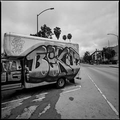 (ADMurr) Tags: la hollywood truck stain hasselblad 500cm 50mm distagon ilford 125 bw black white blanc noir schwarz mf square fullfram dba616