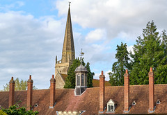 Chimneys and spire (Mirrorfinish) Tags: england church architecture buildings oxfordshire abingdon