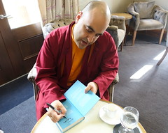 Buddhist Monk Thubten (Tony Worrall) Tags: michelin star restaurant northcote man candid person monk booksigning happy gelongthubten buddhistmonk mindfulness meditation lunchwithgelongthubten update place location uk england visit area attraction open stream tour country item greatbritain britain english british gb capture buy stock sell sale outside outdoors caught photo shoot shot picture captured ilobsterit instragram lancashire