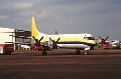 EI-CHZ L. Electra Hunting Cargo CVT 27-04-94 (cvtperson) Tags: eichz lockheed electra hunting cargo falcon coventry airport cvt egbe