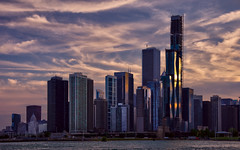 Chicago downtown skyline (Bokeh & Travel) Tags: chicago usa downtown skyline skyscrapers navypier lake lakeshore architecture sunsetcolors sunsetlight sunset cityscape landscape modern reflections