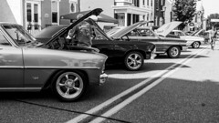 On Display (trainmann1) Tags: nikon d7200 nikkor 18200mm amateur handheld pa pennsylvania summer july 2019 bw blackwhite blackandwhite desaturated outside outdoors carshow classiccars classics antique relic car truck show kutztown town smalltown mainstreet wheels parked