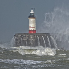 Lighthouse (Croydon Clicker) Tags: lighthouse tower harbour pier jetty rain wind storm gale waves sea water ocean light newhaven sussex eastsussex nikon sigma