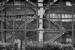 Facade - Patterns & Reflections (mighty.slipper) Tags: paris poetry architecture black white urban facade pattern reflections graphic france fujifilm xt30